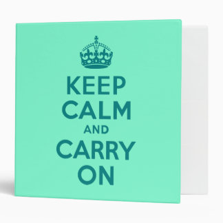Teal and Aquamarine Keep Calm and Carry On 3 Ring Binder