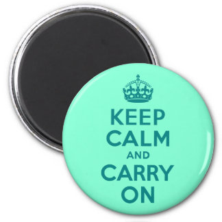 Teal and Aquamarine Keep Calm and Carry On Refrigerator Magnet