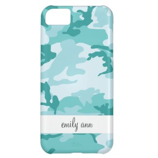Teal and Aquamarine Urban Camoflage Pattern Cover For iPhone 5C
