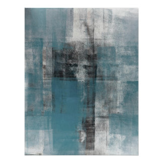Teal and Beige Abstract Art Poster Print