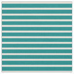 [ Thumbnail: Teal and Beige Colored Stripes/Lines Pattern Fabric ]