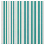 [ Thumbnail: Teal and Beige Lined Pattern Fabric ]