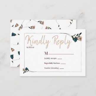 Teal and Beige Roses RSVP Enclosure Card