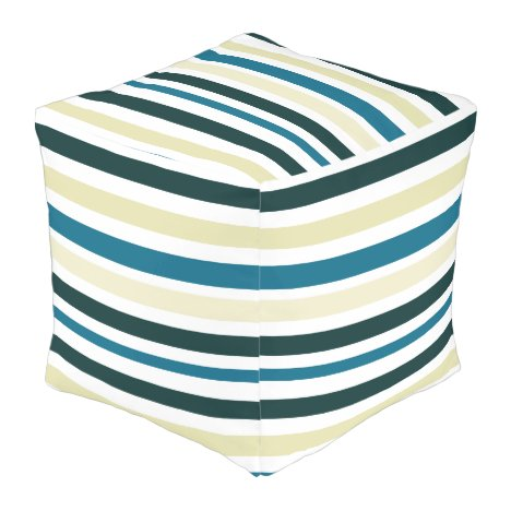 Teal And Beige Stripes Outdoor Pouf