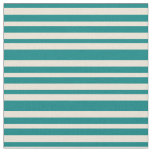 [ Thumbnail: Teal and Bisque Pattern of Stripes Fabric ]