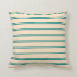 [ Thumbnail: Teal and Bisque Pattern of Stripes Throw Pillow ]