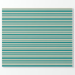 [ Thumbnail: Teal and Bisque Pattern of Stripes Wrapping Paper ]