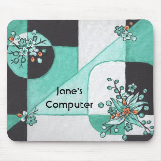 Teal and Black Abstract Mousepad
