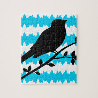 Teal and Black Bird Jigsaw Puzzles