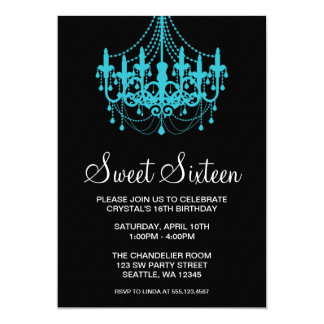Teal and Black Chandelier Sweet Sixteen Birthday Card