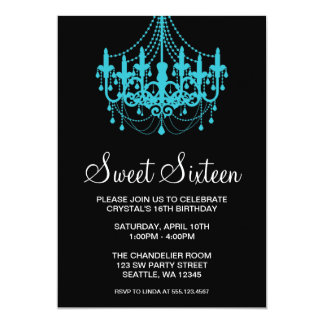 Teal and Black Chandelier Sweet Sixteen Birthday 5x7 Paper Invitation Card