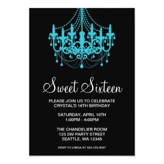 "Teal and Black Chandelier Sweet Sixteen Birthday 5"" X 7"" Invitation Card"