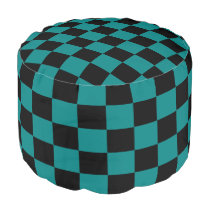 Teal and Black Checkered Pouf