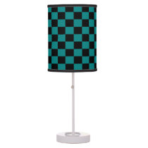 Teal and Black Checkered Shaded Lamp
