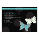 Teal and Black Cool Butterfly Wedding Invitation