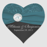 Teal and Black Damask Heart Shaped Sticker
