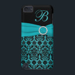 "Teal and Black Damask Monogrammed Touch iPod Touch (5th Generation) Case<br><div class=""desc"">This elegant teal and black damask Touch has a FAUX teal ribbon and jewels with a spot for you to personalize with your initial.</div>"