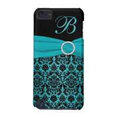 Teal And Black Damask Monogrammed Touch Ipod Touch (5th Generation) Case at Zazzle