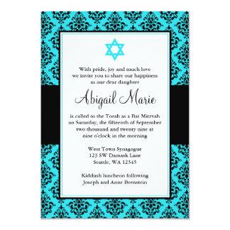 Teal and Black Damask Star of David Bat Mitzvah Card