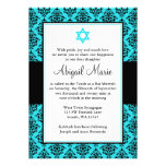 Teal and Black Damask Star of David Bat Mitzvah Personalized Announcements