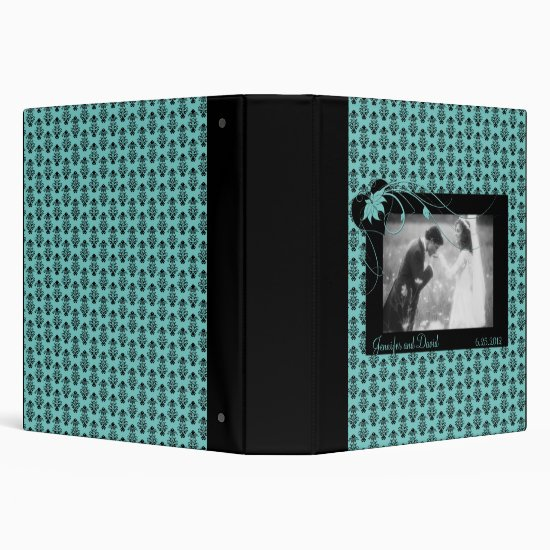 Teal and Black Damask Wedding Album 3 Ring Binder