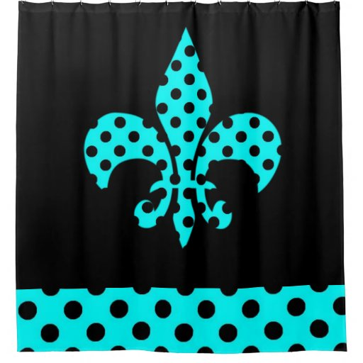 Teal And Black Dots Shower Curtain Zazzle