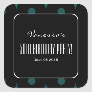 Teal and Black Elegant 50th Birthday Party V01A Square Sticker