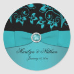 """Teal and Black Floral1.5"""" Round Sticker"""