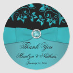"""Teal and Black Floral 3"""" Round Thank You Sticker"""