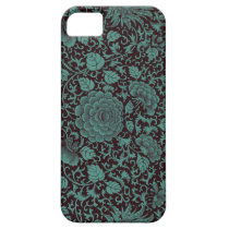 Teal and Black Floral iPhone 5/5s cases