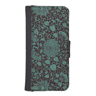 Teal and Black  Floral iPhone 5/5S Wallet Case