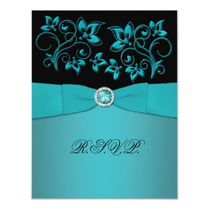Teal and Black Floral Jewelled RSVP Card
