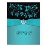 Teal and Black Floral Jewelled RSVP Card Custom Invite
