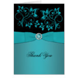 Teal and Black Floral Jewelled Thank You Card Card