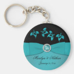 Teal and Black Floral Keychain