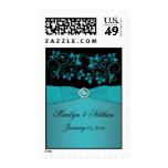 Teal and Black Floral Monogrammed Wedding Postage