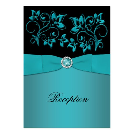 Teal and Black Floral Reception Card Business Card Template