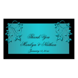 Wedding Gift Tag Lines : Teal and Black Floral Wedding Program 8.5