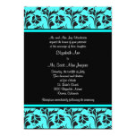Teal and Black Floral Wedding Invitation