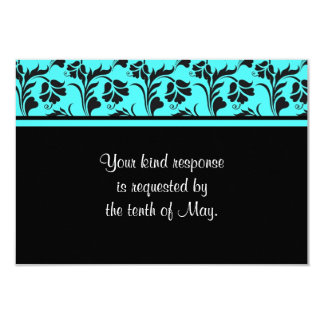 Teal and Black Floral Wedding RSVP Card Personalized Invites