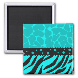 Teal and Black Giraffe Spots with Zebra Stripes 2 Inch Square Magnet