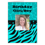 Teal and Black Giraffe Spots with Zebra Stripes Cards