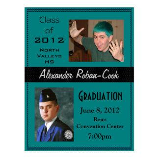 Teal and Black Graduation Invitation Announcement Postcard