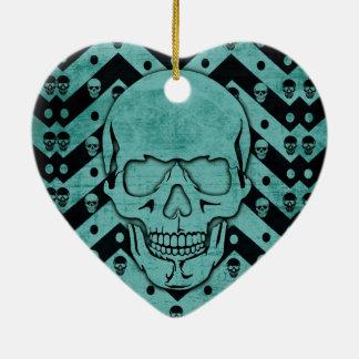 Teal and black grunge chevron skull ceramic ornament