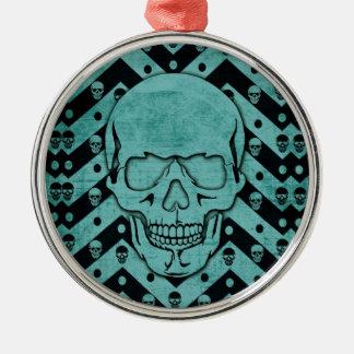 Teal and black grunge chevron skull metal ornament