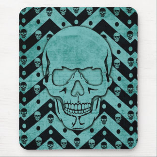 Teal and black grunge chevron skull mouse pad
