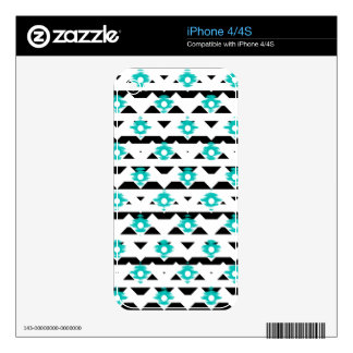 Teal and Black Ikat Tribal iPhone 4S Skins
