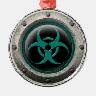Teal and Black Industrial Biohazard Steel Effect Christmas Ornament