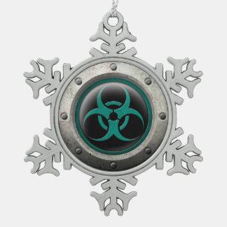 Teal and Black Industrial Biohazard Steel Effect Ornaments