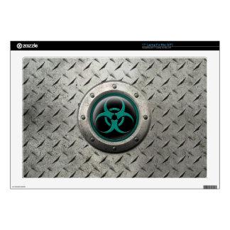 Teal and Black Industrial Biohazard Steel Effect Laptop Decals